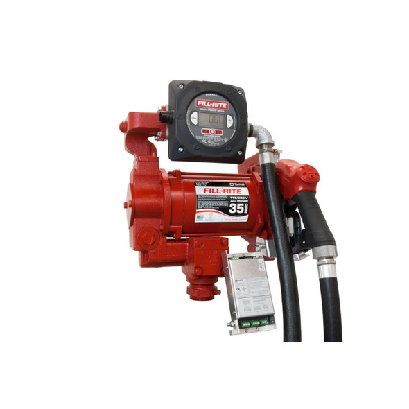 """Fill-Rite FR319VBP 27 GPM, 115/230V AC 50/60 Hz Super High Flow Pump, 1"""" x 18' Hose, 1"""" Ultra High Flow Automatic Nozzle (Truck Stop Spout and Red Cover), 900CDP Digital Meter with 10:1 Pulse Output, Intrinsically Safe Barrier, DIESEL ONLY."""