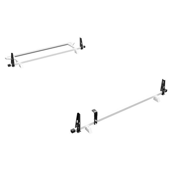 Adrian Steel #2BARRPM2-W | 2-Bar Utility Rack w/ rear Roller, White, ProMaster Low Roof