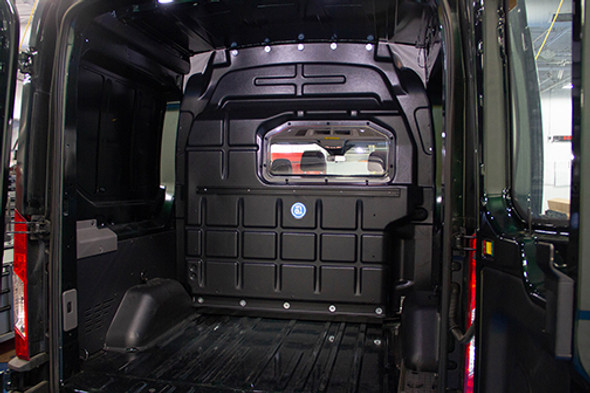 Adrian Steel #PARFTHC Crew Van Composite Partition w/Visibility, Black, Transit High Roof, Transit High Roof Extended