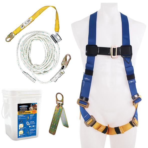 Werner K111101 Roofing Kit, 30Ft Basic, Pass-Thru Buckle Harness