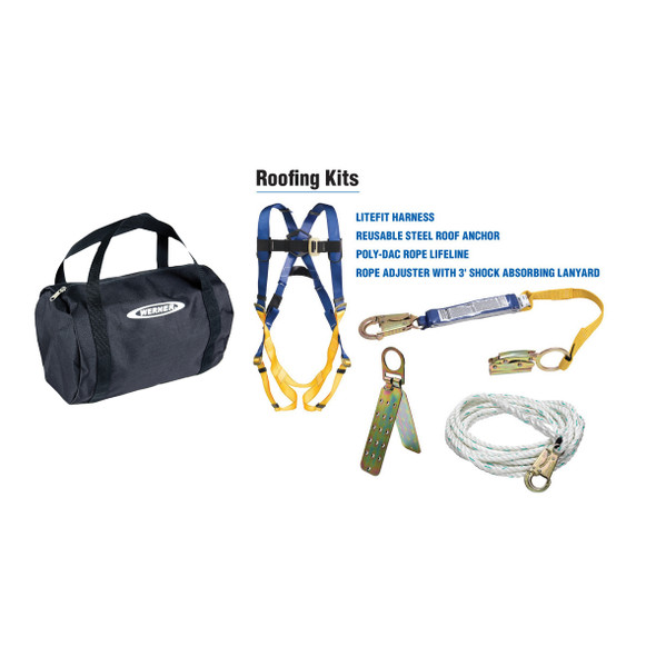 Werner K111204 Roofing Kit, 50Ft Basic, Pass-Thru Buckle Harness, Duffel Bag