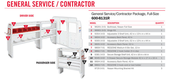 WeatherGuard Model 600-8131R General Service/Contractor Van Package, Full-Size, NV2500, 130 WB