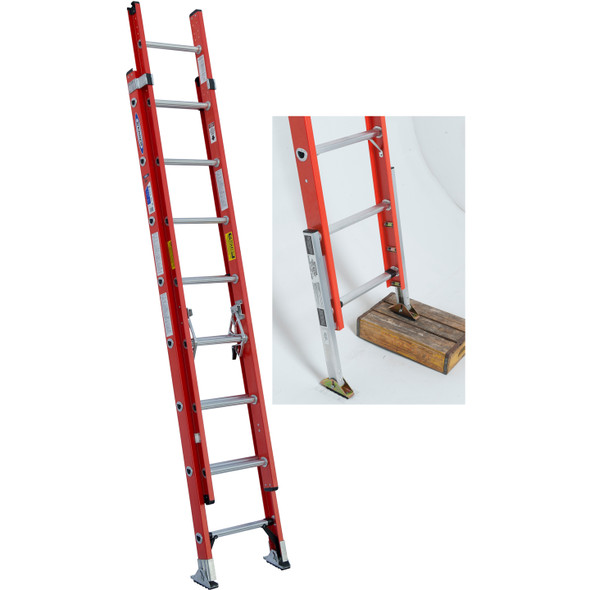 Overstock | Werner D6216-2X0004 Fiberglass Extension Ladder with APK80-4 Automatic Ladder Levelers