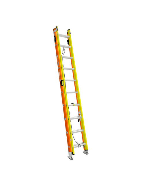 """Werner T6200-2GS Series GLIDESAFE """"Easy Operating"""" Fiberglass Extension Ladder / Type IA 300 lb Rating"""