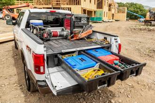 """DECKED Drawer System DF9 - Ford F150 Aluminum (2021-current) - Pro Power Onboard Bed Length 6' 6"""" Color: Black"""