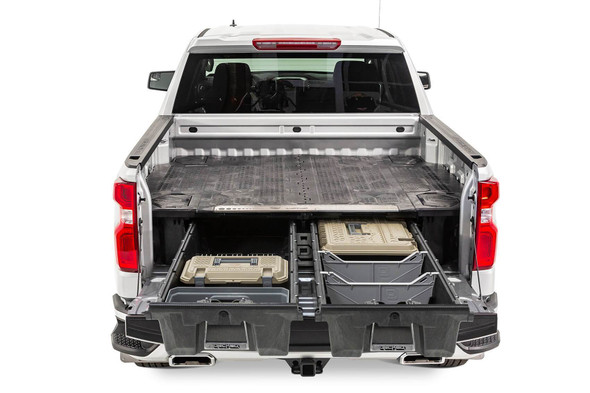 """DECKED Drawer System DG4 - GMC Sierra or Chevy Silverado (2007*-2018) 2500 & 3500 (2007*-2019) Bed Length 6' 6"""" Color: Black"""