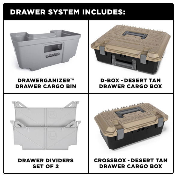 """DECKED Drawer System DT2 - Toyota Tundra (2007-current) Bed Length 6' 7"""" Color: Black"""