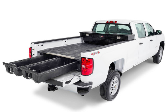 """DECKED Drawer System DG9 - GMC Sierra or Chevy Silverado 8 Foot 1500 (2019-current) - New """"wide"""" bed width Bed Length 8' 0"""" Color: Black"""