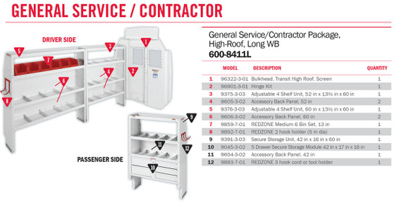 Weather Guard Model 600-8411L General Service/Contractor Van Package, High-Roof, Ford Transit, 148 WB