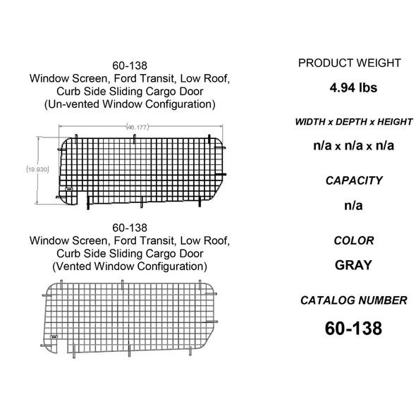 Adrian Steel #60-138 Passenger Side Sliding Door Security Screen, 46.2w x 19h x 0.7d, Gray, Transit Low Roof