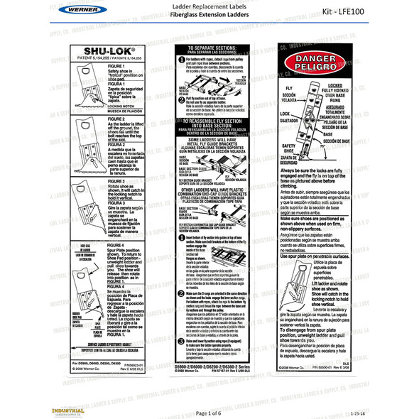 Werner LFE100 Safety Labels Fiberglass Extension Ladders