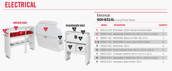 """Weather Guard Model 600-8314L Electrical Contractor Van Package, 2014 Ford Transit Connect, LWB 120"""""""