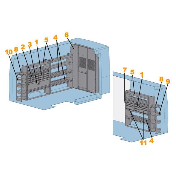 "Adrian Steel 4015H - Sprinter HVAC Starter Package, Gray, Sprinter High Roof, 144"""