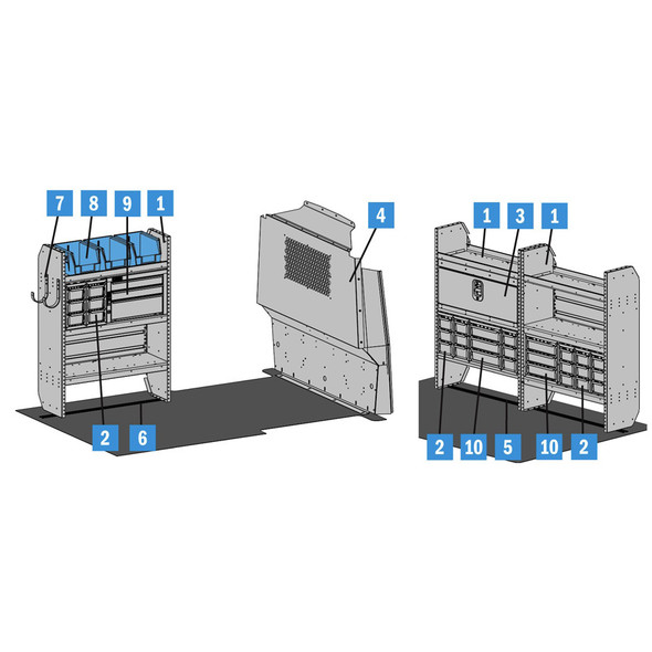 "Adrian Steel #5222 - Plumbing Starter Package, Gray, Transit Connect, 120"""