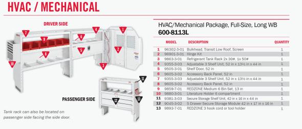 Weather Guard Model 600-8113L HVAC/Mechanical Van Package, Full-Size, Ford Transit, 148 WB