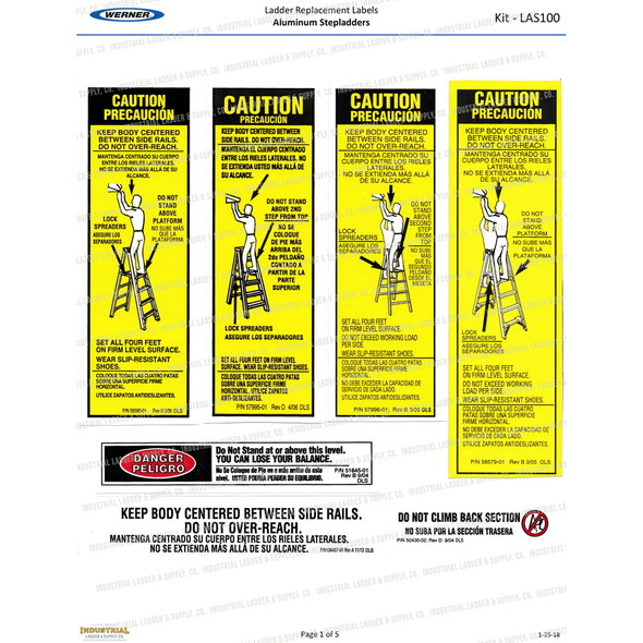 Werner Parts LAS100 Safety Labels Aluminum Step Ladders | ALUM STEP LDR LABEL REPL KIT