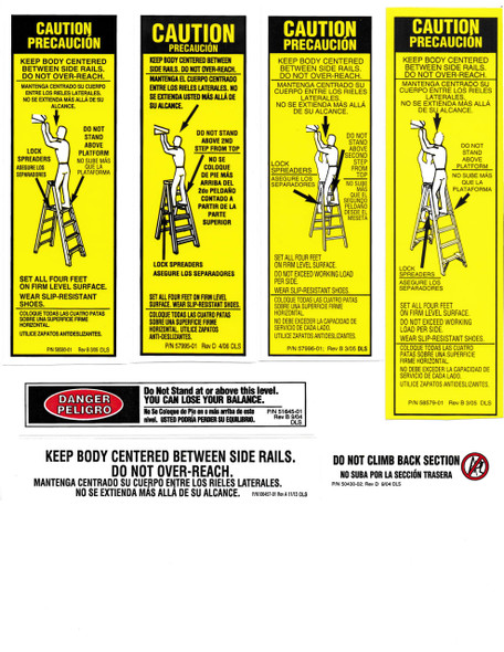 Werner Parts LAS100 Safety Labels Aluminum Step Ladders | ALUM STEP LDR LABEL REPL KIT