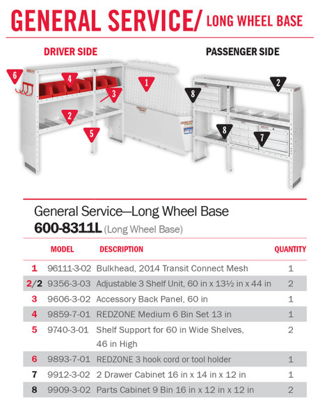 """Weather Guard Model 600-8311L General Service Van Package, 2014 Ford Transit Connect, LWB 120"""""""