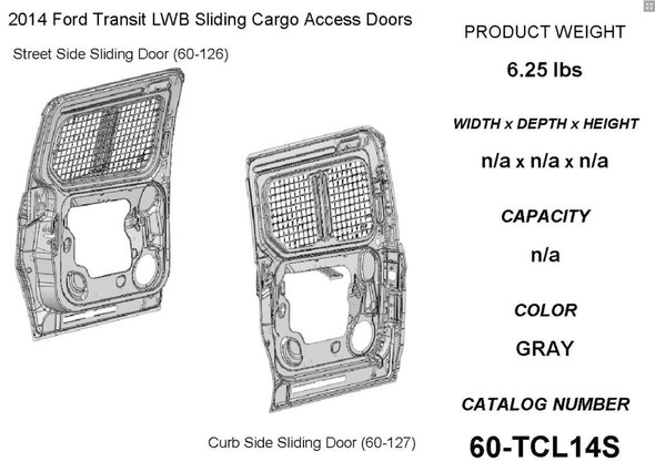 Adrian Steel #60-TCL14S Sliding Doors Security Screen Kit, Gray, Transit Connect, 120""