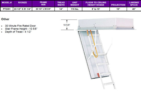 "Rainbow ProTech PT2351 Attic Ladder |  30-Minute Fire Rated  | 23.5"" x 51.25"" Opening 