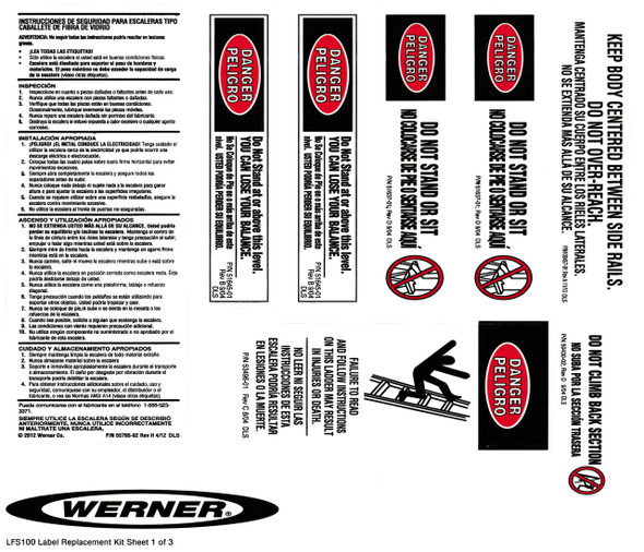 Werner Parts LFS100 Safety Labels Fiberglass Step Ladders | FRP STEP LDR LABEL REPL KIT