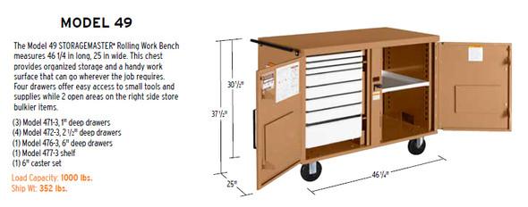 Knaack Model 49 STORAGEMASTER Rolling Work Bench, 1,000 lbs