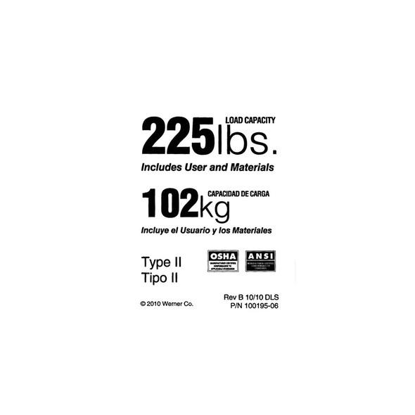 Werner Parts LDR225 Duty Rating Label - 225 lb | 225# DUTY RATED LDR LBL REPL