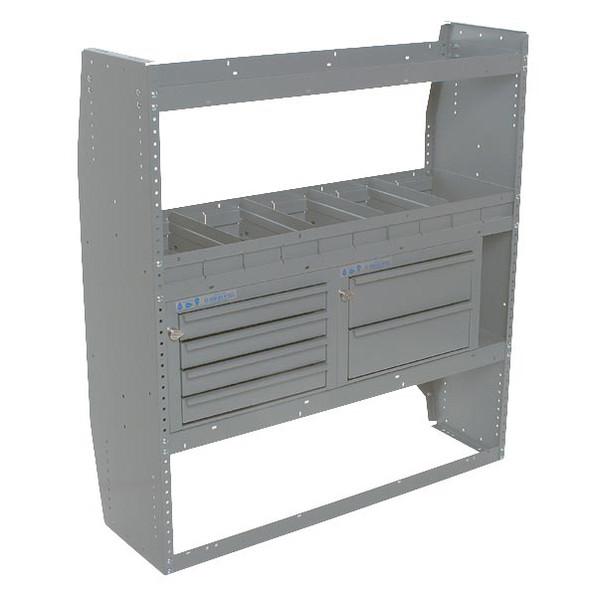 Adrian Steel #MD530 3-Shelf Unit w/ Drawers & Dividers, 42w x 46.5h x 14d, Gray