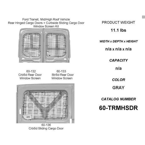 Adrian Steel #60-TRMHSDR Passenger Side Sliding & Rear Doors Security Screen Kit, Gray, Transit Mid Roof, High Roof