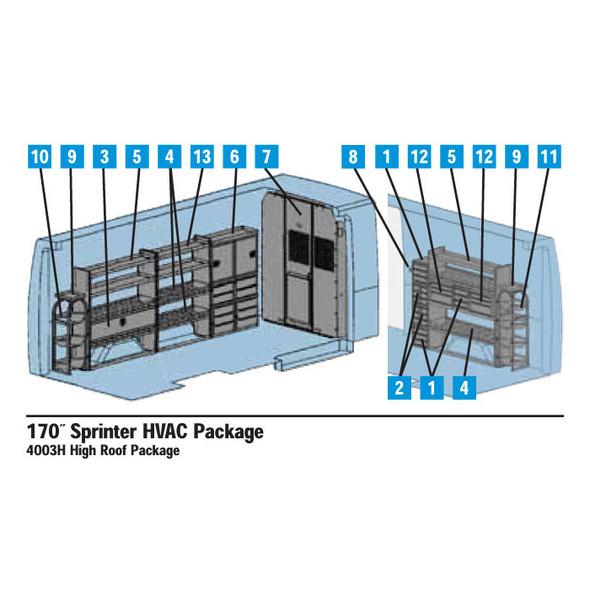 """Adrian Steel 4003H - Sprinter Interior HVAC Package - 170"""" Wheelbase #4003H"""