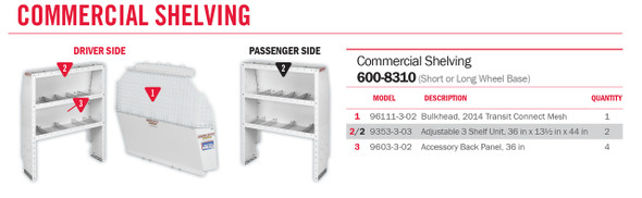 Weather Guard Model 600-8310 Commercial Shelving Van Package, 2014 Ford Transit Connect