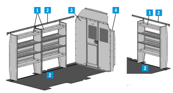 "Adrian Steel 5156TH148X - Triple Shelf Starter Package, Gray, Transit High Roof, 148"" Ext."