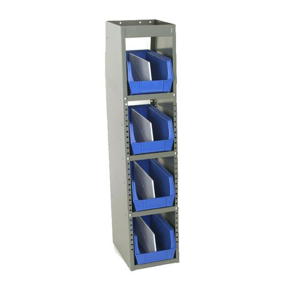 Adrian Steel #33WB Welded 4-Shelf Unit w/ Bins, 10w x 46h x 14d, Gray, Blue