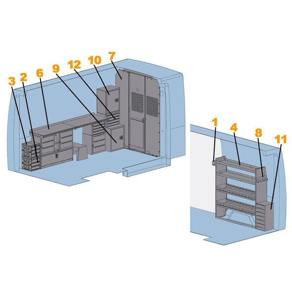 "Adrian Steel #4016H Locksmith Starter Package, Gray, Sprinter High Roof, 144"""