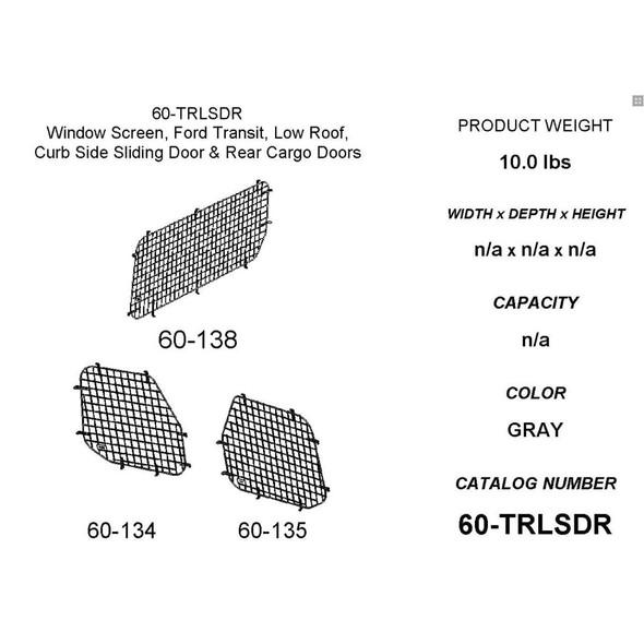 Adrian Steel #60-TRLSDR Passenger Side Sliding & Rear Doors Security Screen Kit, Gray, Transit Low Roof