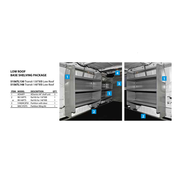"Adrian Steel 5156TL148 - Base Shelving Package | Ford Transit Low Roof, 148"" WB"