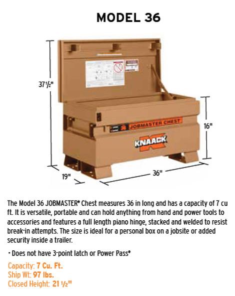 Knaack Model 36 JOBMASTER Chest, 7 cu ft