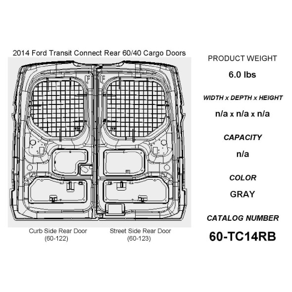 Adrian Steel #60-TC14RB Rear Doors Security Screen Kit, Gray, Transit Connect