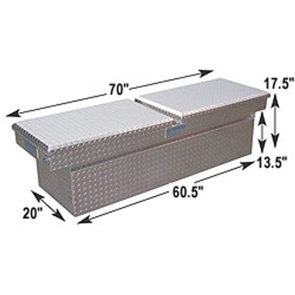 Adrian Steel #AD201 Aluminum Double Lid Crossbox, 70w x 17.5h x 18d