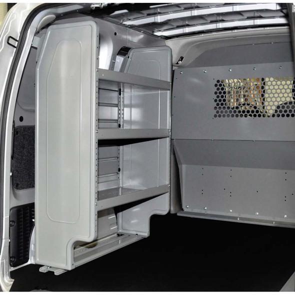 Adrian Steel #4959 - Base Starter Package w/ Steel Partition & Adjustable 3-Shelf Unit, Gray, City Express, NV200