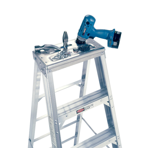 """Werner 400 Series Aluminum Stepladders 375 lb rated up to 12' / 14' & 16"""" are 300 lb rated"""