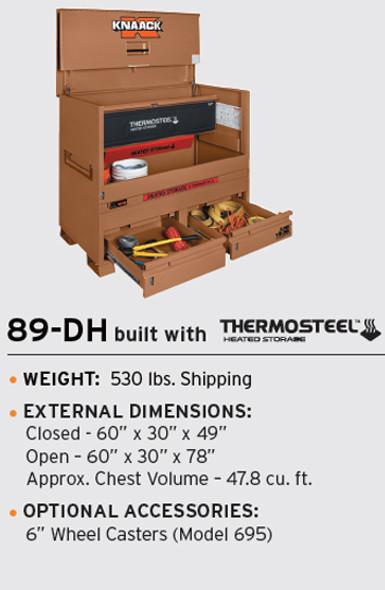 Knaack Model 89-DH STORAGEMASTER Chest / JUNK TRUNK THERMOSTEEL Heated Storage