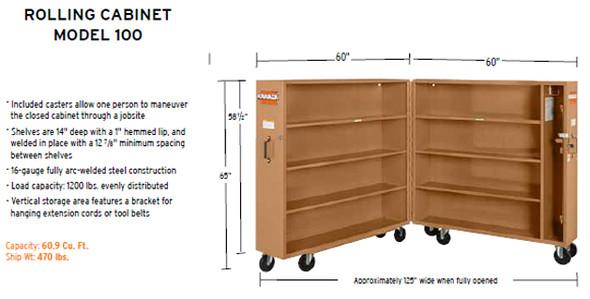 Knaack Model #100 JOBMASTER Rolling Cabinet, 60.9 cu ft