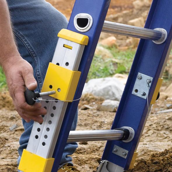 Werner D8200-2EQ Series Equalizer Fiberglass Extension Ladder 300 lb Rated