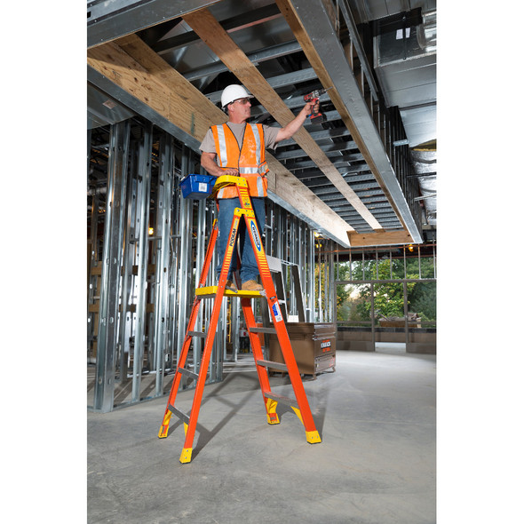PD 6200 Series Fiberglass Ladder in use