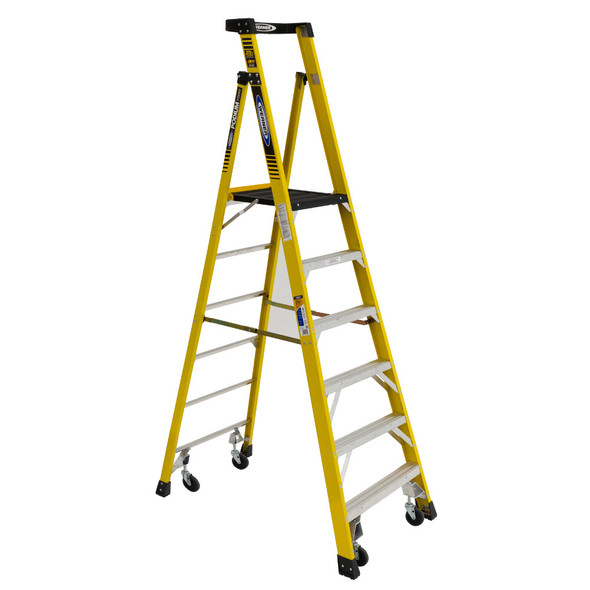 Werner PD7300-4C Series Podium Fiberglass Ladder with Casters | 375 lb Rated
