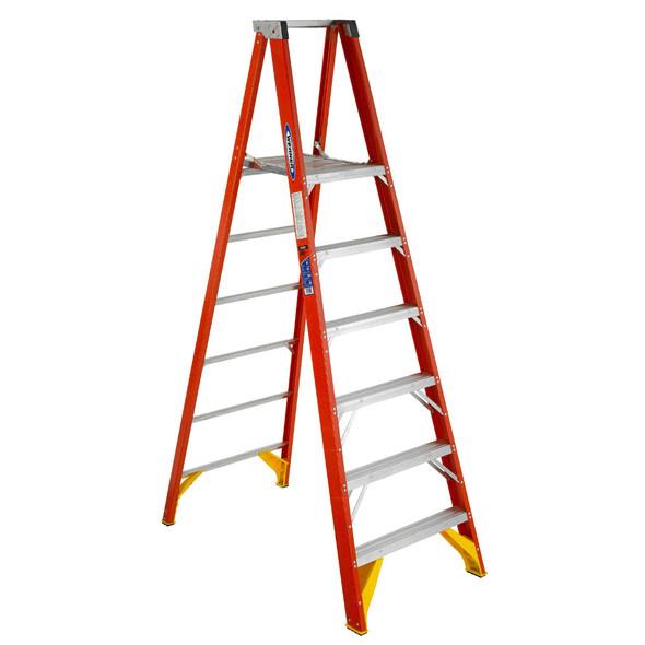 Werner P6200 Series Fiberglass Platform Ladder | 300 lb Rated
