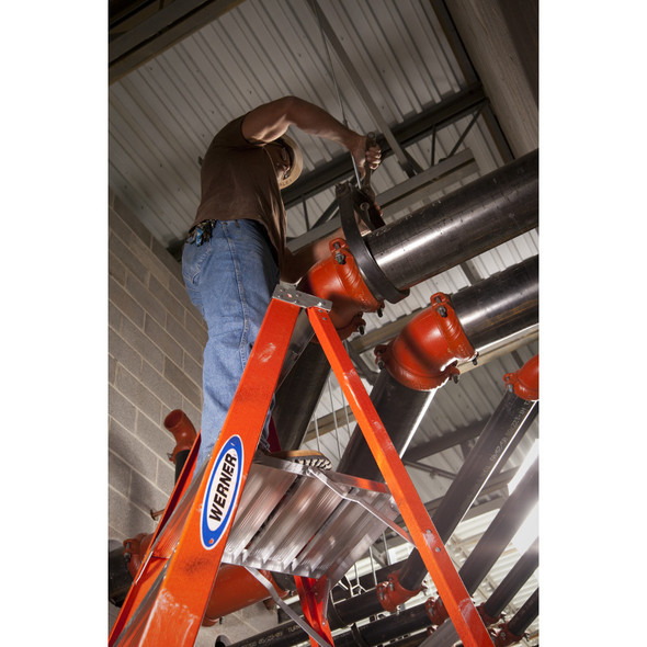 Werner P6200 Series Fiberglass Platform Ladder | 300 lb Rated
