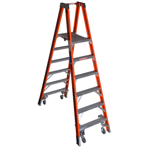 """Werner PT7400-4C Series"""" Stockr's"""" Fiberglass Ladder with CASTERS 