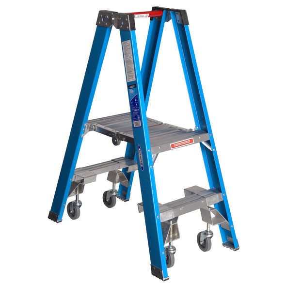 """Werner PT6000-4C Series"""" Stockr's"""" Fiberglass Ladder with CASTERS 